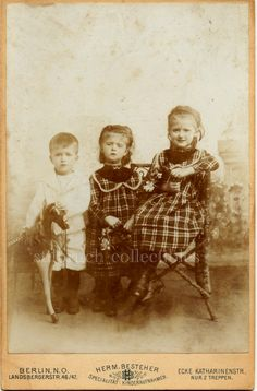 3 SIBLINGS WITH HORSE TOY ANTIQUE LARGE CAB CABINET CARD PHOTO
