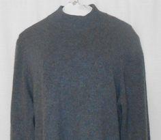 INVESTMENTS 100% CASHMERE Sweater Mock Turtleneck Women Size XL Gray Long Sleeve #Investments #TurtleneckMock