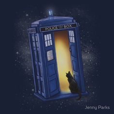 Paws Through Time and Space. Girly fit, large. Seriously, how perfect! A cat and the TARDIS.