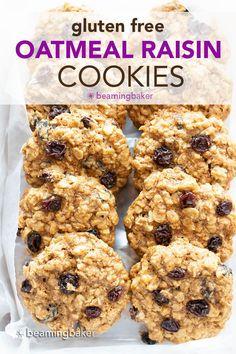 Classic Gluten Free Oatmeal Raisin Cookies (Dairy Free): deliciously chewy gluten free oatmeal raisin cookies with crispy edges and sweet, juicy raisins. Wonderfully gluten and dairy free. #GlutenFree #OatmealRaisin #Cookies #DairyFree | Recipe at BeamingBaker.com Raisin Cookie Recipe, Vegan Oatmeal Raisin Cookies, Gluten Free Oatmeal, Vegan Chocolate Chip Cookies, Chocolate Chip Oatmeal, Good Healthy Recipes, Delicious Vegan Recipes, Vegan Desserts, Healthy Snacks