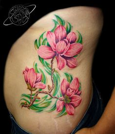 Pink magnolia flower tattoo - 50  Magnolia Flower Tattoos  <3 <3