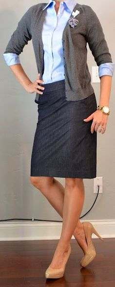 denim pencil skirt, blue shirt, cardigan. (add a wide belt for a different look)