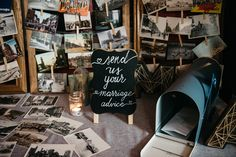 """Toronto themed guest book - guests wrote advice for the bride and groom on a Toronto postcard and """"mailed"""" it to the bride and groom in the vintage style mailbox"""