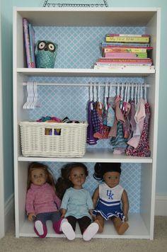 Bookshelf turned into Doll's closet