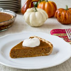 Classic pumpkin pie with a bourbon whipped cream topping