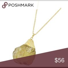 "Yellow Druzy Semi-Precious Stone Necklace Gold Tone / Yellow Druzy Semi-precious Stone(size & Shape May Vary) / Lead&nickel Compliant / Pendant / Long Necklace •   LENGTH : 28 + EXT •   PENDANT : 1 3/4"" X 2 1/2""  •   GOLD/DARK YELLOW ( Does not come With Earrings) R.E.A.L Jewelry Jewelry Necklaces"