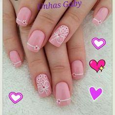 Uñas decoradas Stylish Nails, Pink Nails, Summer Nails, You Nailed It, Flower Designs, Finger, Nail Designs, Hair Beauty, Nail Polish