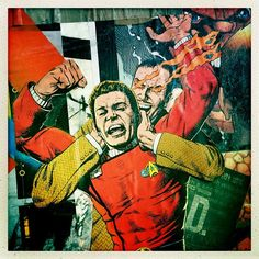 Changed it up and went with some captain kirk #captainkirk #graffiti #wheatpaste #comics #spraypaint #wallart #startrek #collage