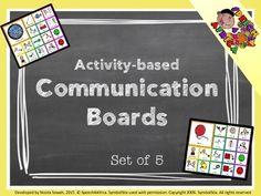 Communication Boards set 1 (activity-based using symbolstix) Multiple Disabilities, Learning Disabilities, Communication Boards, Preschool Special Education, File Folder Games, Progress Monitoring, Resource Room, Visual Schedules, Washing Dishes