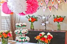 Little lamb baby shower - love the hot pink and bright orange color combo. No baby pink or yellow for our super cool mom-to-be!