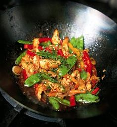 Recipes from The Nest - Stir-Fried Chicken Breast With Red Bell Peppers and Snow Peas