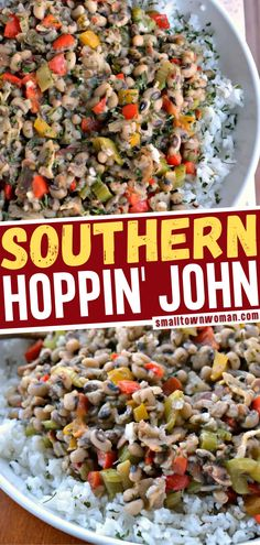 Hoppin' John recipe is a scrumptious Southern black eyed pea dish with bacon, onions, celery, bell peppers and garlic served over white rice! This recipe has so much incredible flavor and hearty wholesome goodness. Make this for an easy dinner or for New Year's Day! New Years Day Dinner, Bacon Recipes, Rice Recipes, Dessert Recipes, Healthy Recipes, Bacon Fried Cabbage, Pork Recipes For Dinner, Southern Dinner, Southern Recipes