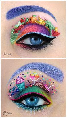 Totally Sweet Crazy Eye Makeup, Creative Makeup Looks, Colorful Eye Makeup, Eye Makeup Art, Lip Makeup, Fairy Makeup, Mermaid Makeup, Subtle Makeup, Makeup Brushes