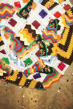 Patchwork embroidery rug via Ruffled Blog.