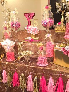 Pink and Gold Tassel Garland Blush Pink by MyArrowsPaperShop