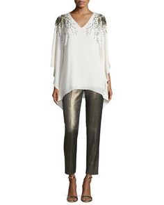 Hand-Beaded+V-Neck+Silk+Blouse+&+Emma+Metallic+Tweed+Cropped+Pants+by+St.+John+Collection+at+Neiman+Marcus.