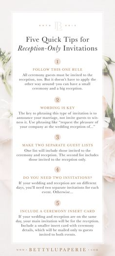 Wedding invitation wording for a reception only event can be tricky! The key to wording this type of invitation is to announce your marriage, not invite guests to witness it. Check out the full post for helpful wedding tips and wording samples! Reception Only Wedding Invitations, Wedding Invitation Etiquette, Traditional Wedding Invitations, Country Wedding Invitations, Wedding Wording, Wedding Invitation Wording Examples, Wedding Etiquette, Floral Invitation, Invitation Ideas