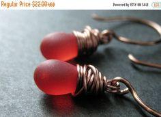 HOLIDAY SALE COPPER Earrings - Red Dangle Earrings in Frosted Glass. Wire Wrapped Copper Drop Earrings. Handmade Jewelry.