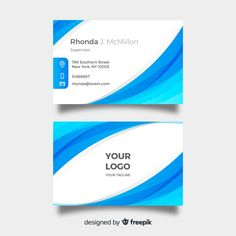 Blue and white visiting card template Free Vector Visiting Card Templates, Company Letterhead, Vector Free, Blue And White, Cards, Business Card Templates, Maps, Playing Cards