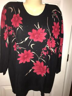 Ladies Size 1X Sweater By Cathy Daniels Black With Red Floral Print 3/4 Sleeves #CathyDaniels #Crewneck
