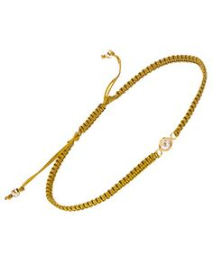 Meredith Hahn Lani Cubic Zirconia Solitaire Khaki Macrame Bracelet - $50.00