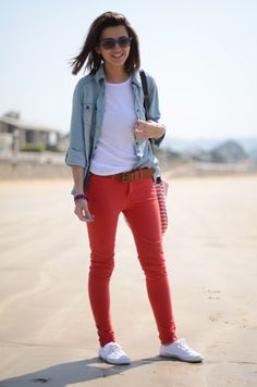 denim shirt and red pants