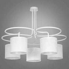 Krótki sztywny 5 ramienny biały żyrandol Fasis do salonu sypialni jadalni - LampyTanie - 312,54 PLN