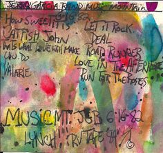 my original cassette tape artwork for JGB @ Music Mountain 6-16-82, Bobby & The Midnights also played, it rained.