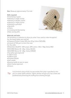 New crochet patterns for dogs english ideas Crochet For Kids, Crochet Toys, Free Crochet, Crochet Stitches Patterns, Amigurumi Patterns, Single Crochet, Double Crochet, Yarn Dolls, Crochet Abbreviations