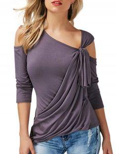 5b323e04f8d Annflat Women s Cold Shoulder 3 4 Sleeve T Shirt Asymmetrical Hem Draped  Blouse Tops