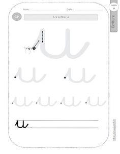 la lettre u minuscule au CP:FICHES d'ECRITURE. Modèles d'écriture cursive Montessori, Language, Calligraphy, Math Equations, Lettering, Teaching, How To Plan, Education, Writing Cursive