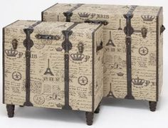 Paris Fabric Trunks - Set of 2. Fun. Would be cooler with ITALIAN accents but its a start for travelers or planners