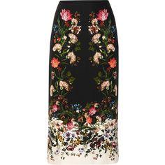 Erdem Maira floral-print silk crepe de chine skirt ($450) ❤ liked on Polyvore featuring skirts, erdem, black, multi color skirt, erdem skirt, multi colored skirt and flower print skirt