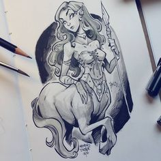 #inktober 16/31 #centaur ✒ Just a quick one today.. other artwork to be finished!