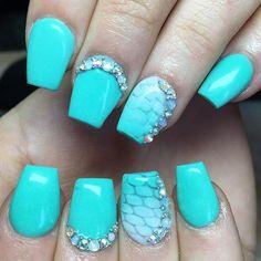 Turquoise Mermaid Inspired Nails With Rhinestones