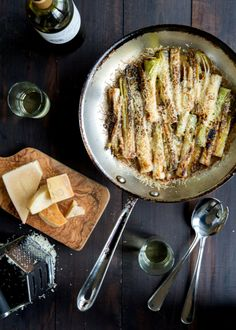 // Braised Leeks from wild greens and sardines