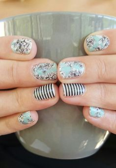 Another new favorite! Jamberry Serene and Skinny Black and White Stripe nail wraps! Emily Nelson- Independent Jamberry Consultant https://enchantingjams.jamberry.com/us/en/