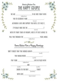 14 Free, Fun, and Printable Wedding Mad Libs | Turquoise, Words