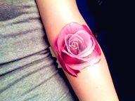 Pink rose tattoo without black outline. Put a couple of these together to make a half sleeve