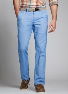 Fabric: 100% Cotton Oxford Cloth Notes: These pants are incredibly soft- great for when you want to be comfortable and distinguished. Curved waist band for better fit and no bunching of fabric