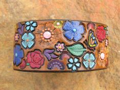 Hand Painted Tooled Leather Bracelet Cuff Wide by SarahsArtistry