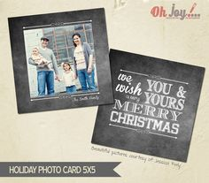INSTANT DOWNLOAD - Christmas card photoshop template 5x5 - CN103 on Etsy, £4.90