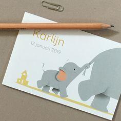 Lief geboortekaartje met een olifant. 3 In One, Birth, Invitations, Cards, Baby, Being A Mom, Save The Date Invitations, Maps, Baby Humor