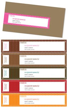 Spruce up your snail mail with these free wrap-around envelope mailing labels (dot pattern or multi-color pattern) by Melissa of A Very Chocolate Wedding. Printable Lables, Printable Designs, Free Printables, Mailing Labels, Address Labels, Label Templates, Envelope Liners, Paper Cards, Making Life Easier