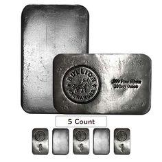 Lot of 5 - 10 oz Bullion Exchanges Silver Hand Poured Bar .999 Fine