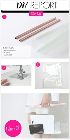 Spectacular Clear DIY bag A clear bag made with provides from the ironmongery store Costura Diy, Diy Bags Purses, Transparent Bag, Diy Fashion Accessories, Techniques Couture, Clear Bags, Diy Arts And Crafts, Vinyl, Handmade Bags