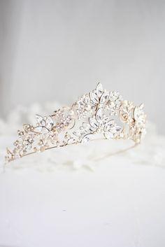 handmade by LuluSplendor Rose Gold Wedding Tiara Crown Large Crystal Pearl  and Rhinestone Tiara Bridal Headpieces 088618e10d00