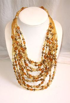 Golden Cascade Multistrand Necklace by WOWTHATSBEAUTIFUL on Etsy