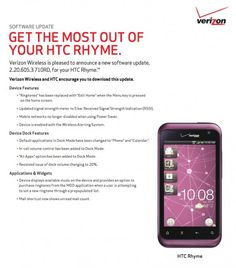 HTC Rhyme getting a minor update, changes to dock features and signal strength meter