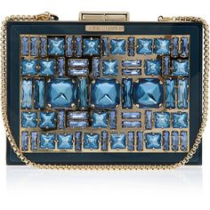 ELIE SAAB Box Crystal Clutch Bag (¥172,340) ❤ liked on Polyvore featuring bags, handbags, clutches, purses, bolsas, blue handbags, sparkly purses, crystal handbags, crystal purse e blue purse